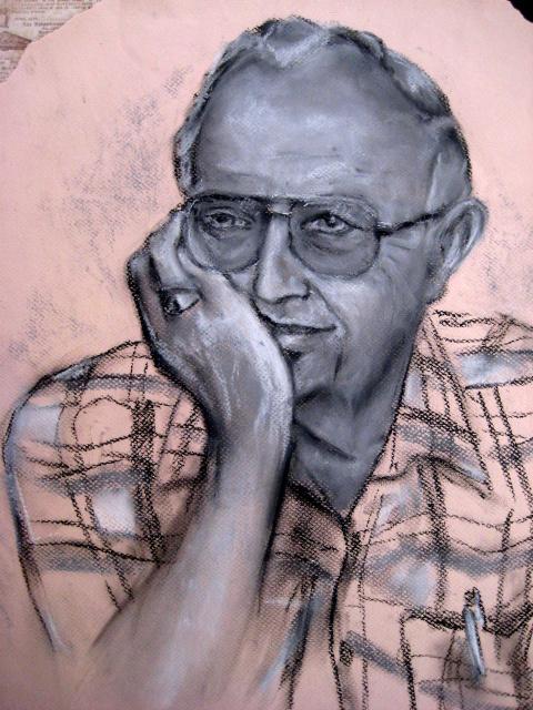 Chalk Drawing of Ken Fisher by grandaughter, Rachel-Ann Fisher